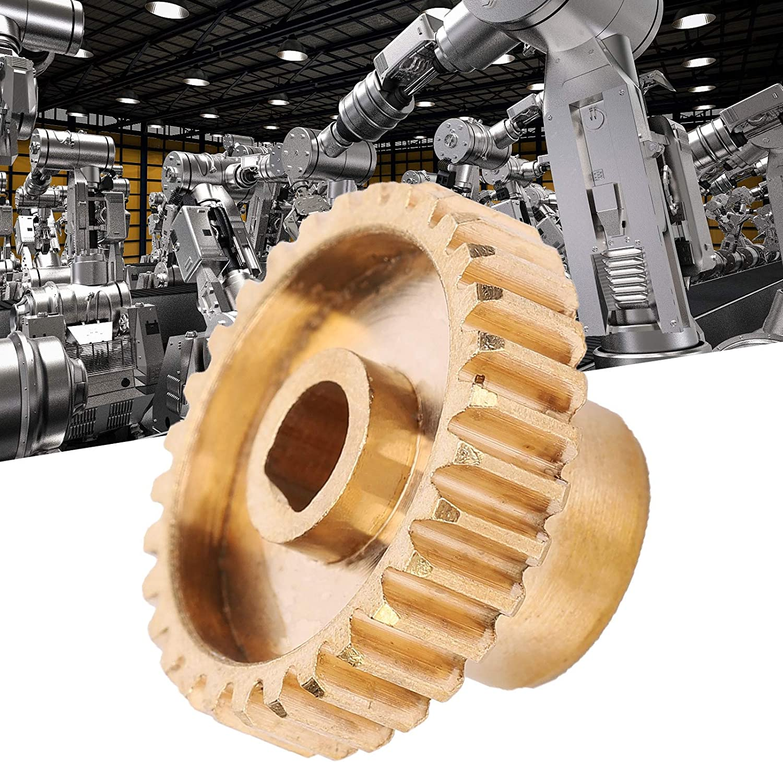 Eujgoov 30 Dents Engrenage Droit 0.8 Mod 6mm D-bore en Laiton Accessoires de Remplacement pour Robot Industriel
