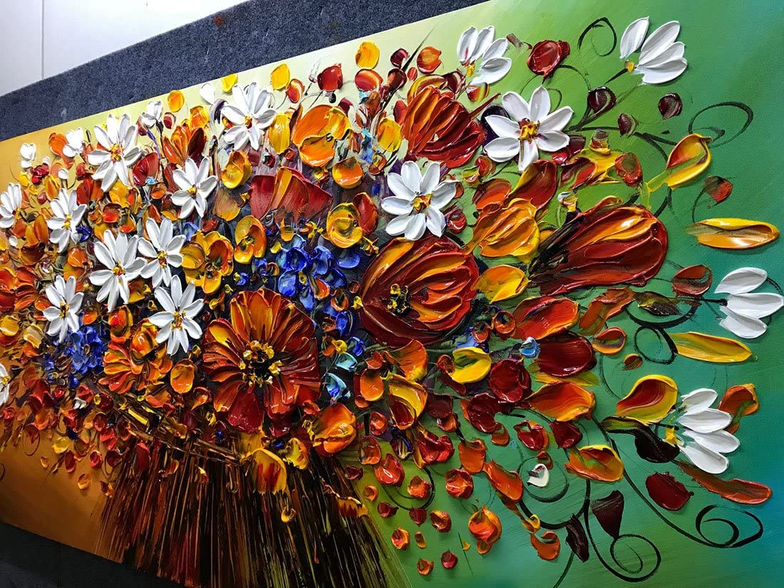 24x48 Inch Paintings Brilliant Flowers Oil Hand Painting Painting 3D Hand-Painted On Canvas Abstract Artwork Art Wood Inside Framed Hanging Wall Decoration Abstract Painting Yotree Paintings