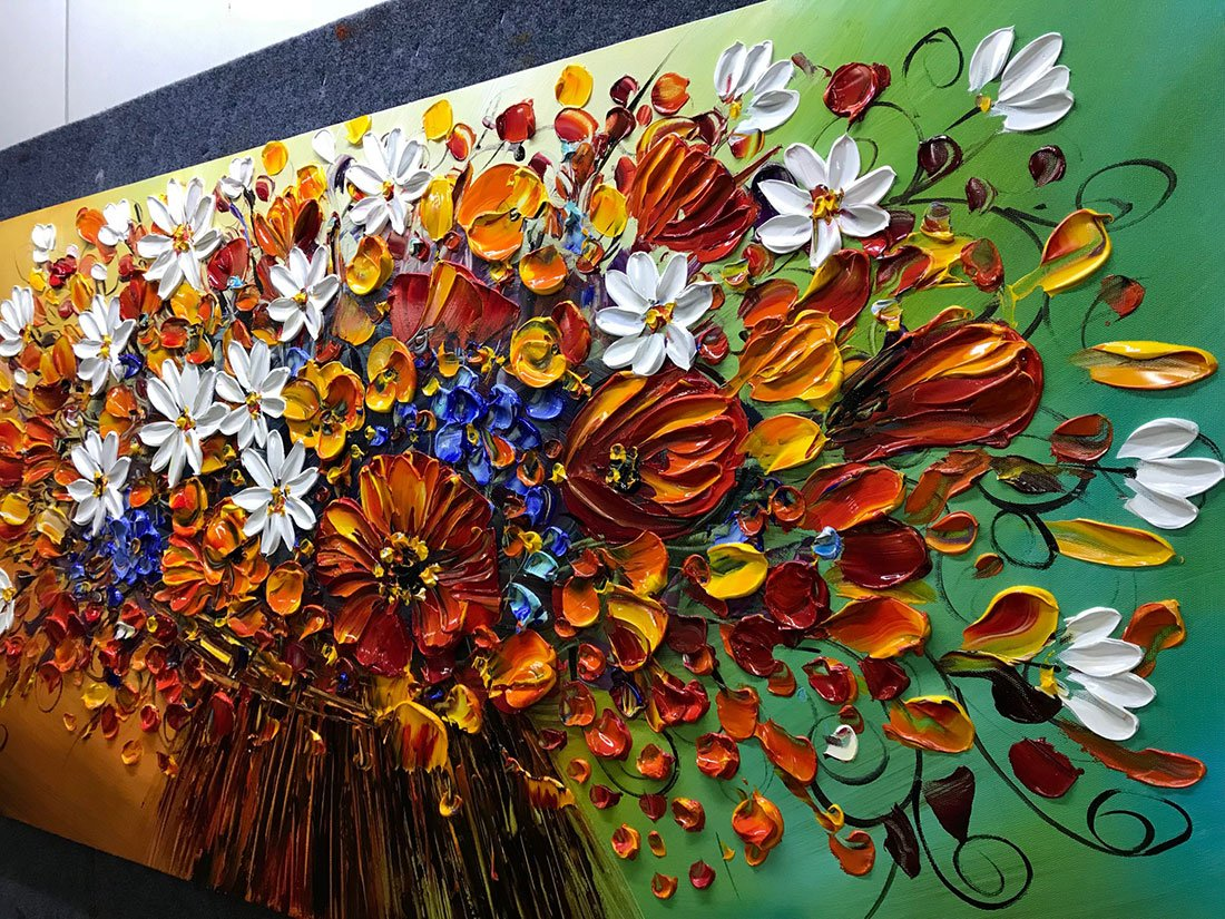 Yotree Paintings, 24x48 Inch Paintings Brilliant flowers Oil Hand Painting Painting 3D Hand-Painted On Canvas Abstract Artwork Art Wood Inside Framed Hanging Wall Decoration Abstract Painting by Yotree (Image #3)
