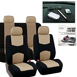 FH GROUP FB050114 Full Set Flat Cloth Car Seat Covers, Beige / Black w. FH1002 Non-slip Dash Grip Pad Mat - Fit Most Car, Truck, Suv, or Van
