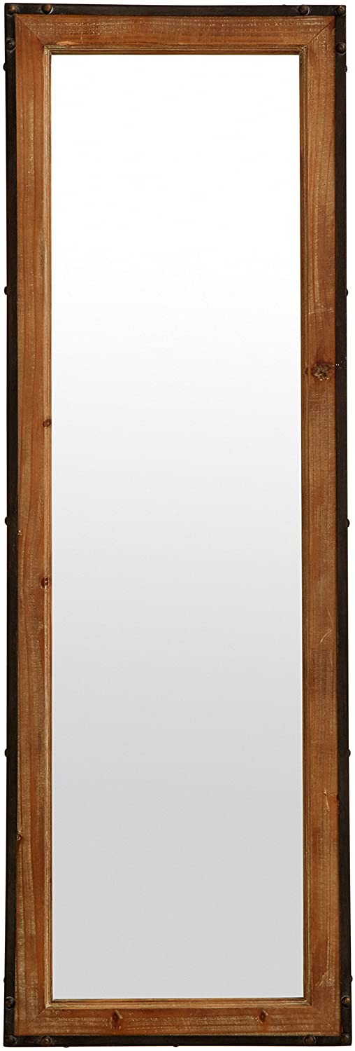 "Stone & Beam Wood and Iron Hanging Wall Mirror, 42.25"" Height, Natural Wood and Black"