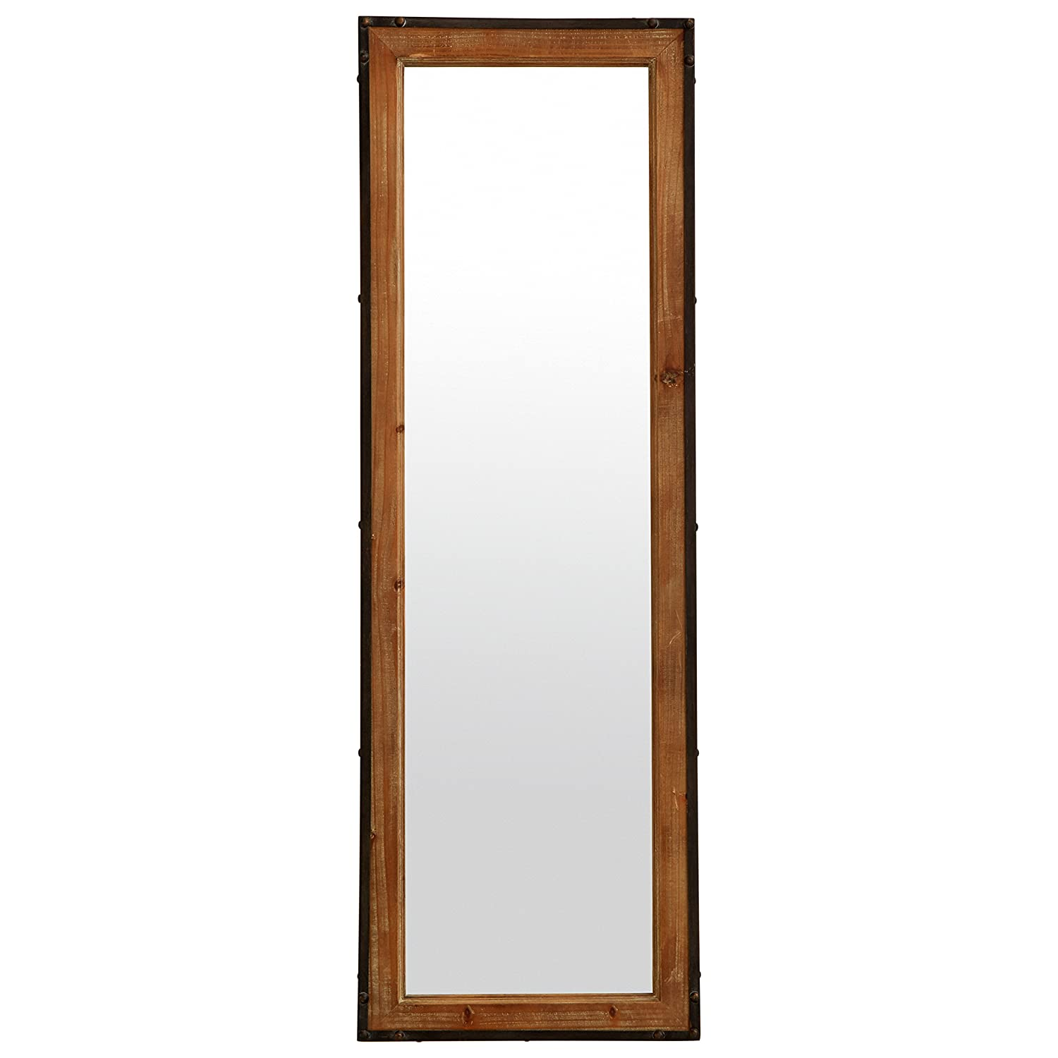 Stone & Beam Wood and Iron Mirror, 42.25 H, Natural Wood and Black 42.25 H L165087