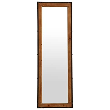 Stone & Beam Wood and Iron Hanging Wall Mirror, 42.25 Inch Height, Natural Wood and Black
