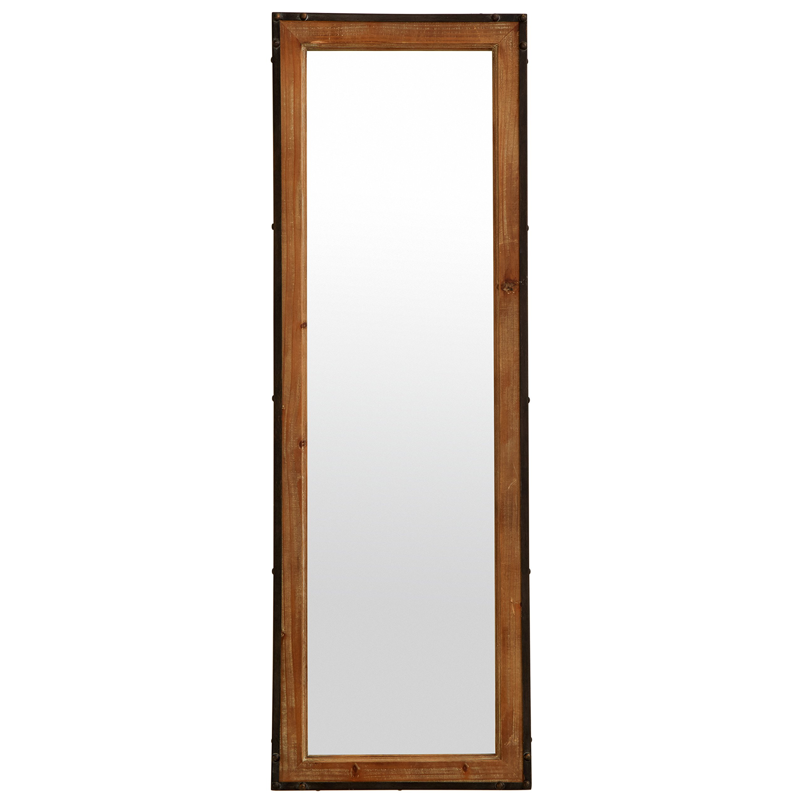 Stone & Beam Wood and Iron Mirror, 42.25''H, Natural Wood and Black