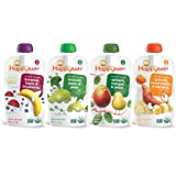 Happy Baby Organic Stage 2 Baby Food Simple Combos Variety Pack, 4 Ounce Pouch (Pack of 16) Bananas Beets & Blueberries, Spinach Mangos & Pears, Apricots Sweet Potato & Bananas, Broccoli Pears & Peas