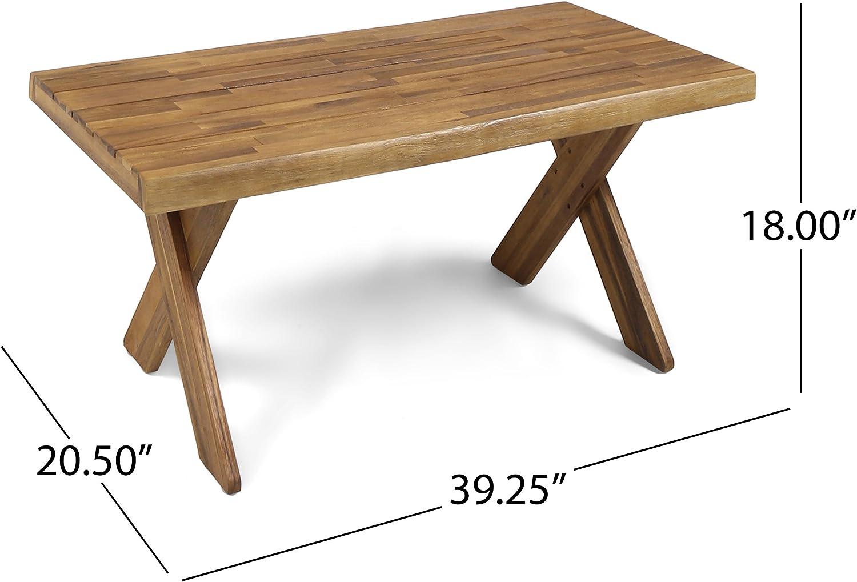Great Deal Furniture 304412 Irene Outdoor Acacia Wood Coffee Table Teak Sandblast Finish
