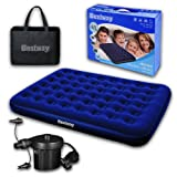 New Model 2017 Bestway Inflatable Double Flocked Air Bed Camping Airbed Mattress with Electric Pump and Carry Bag