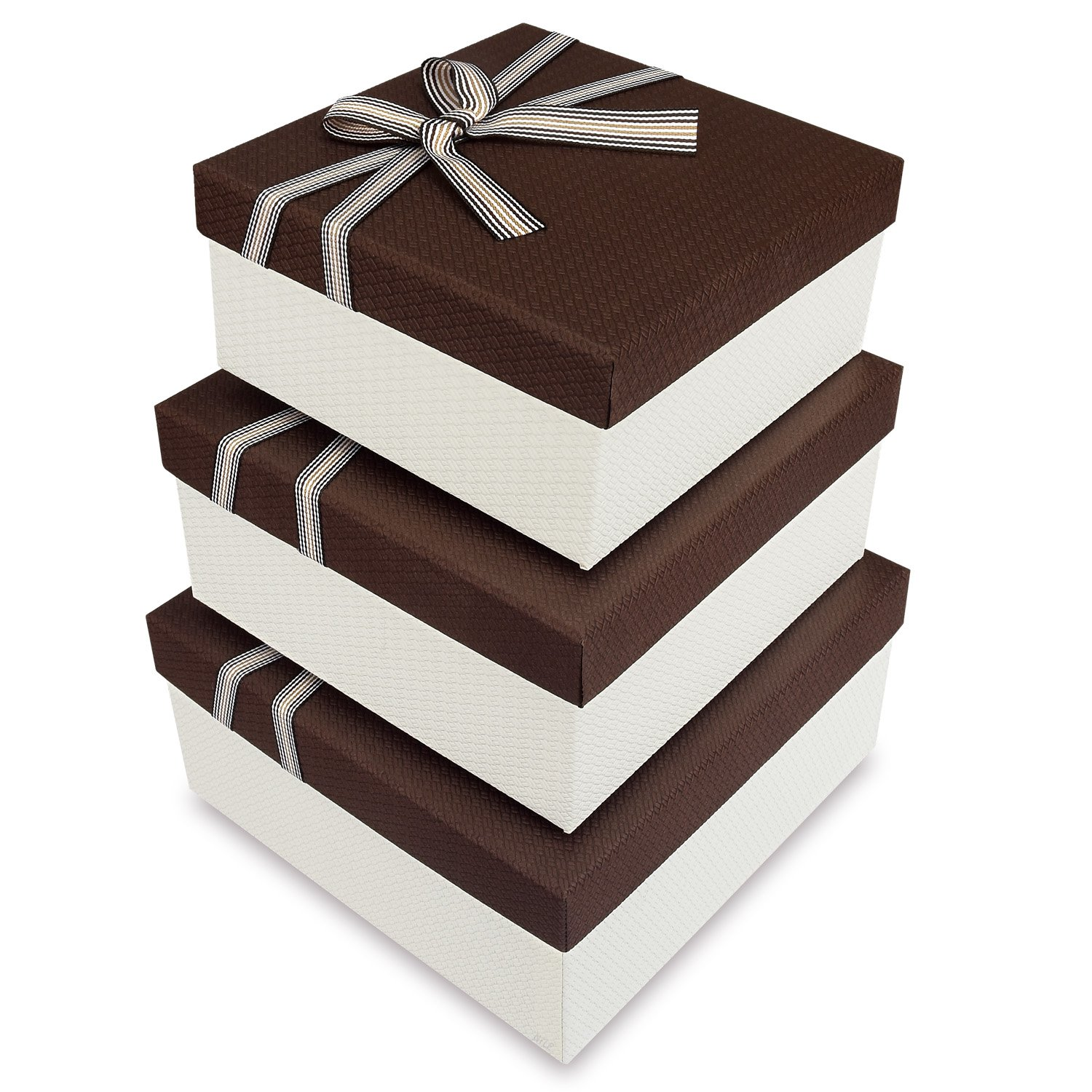 Square Nesting Gift Boxes, A Set of 3,Brown Color with A Bowtie by Ikee Design (Image #2)
