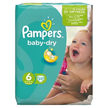 PAMPERS Pañales Baby-Dry Talla 6 (extragrande) 15 Plus kg, 22 Pañales