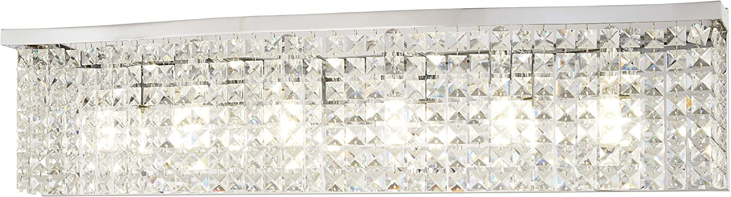 Minka Lavery Crystal Wall Light Fixtures 4806-77 Concentus Bath Vanity Lighting, 6-Light 360 Watts, Chrome