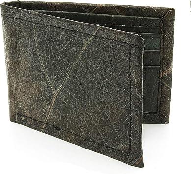 ECOMONKEY® Geldbörse vegan für Herren & Damen + klein & ohne Münzfach + veganes Leder (Kunstleder) aus Blättern + Slim Wallet + dünner Geldbeutel …