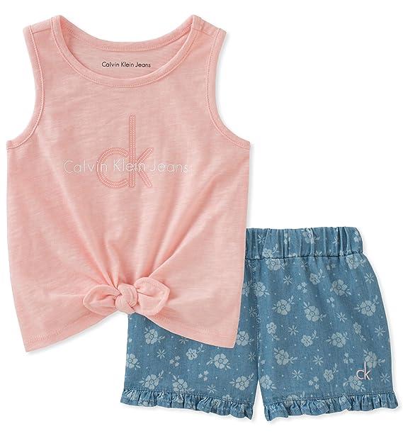 Calvin Klein Flounce Juego De Pantalones Cortos Para Nina Los