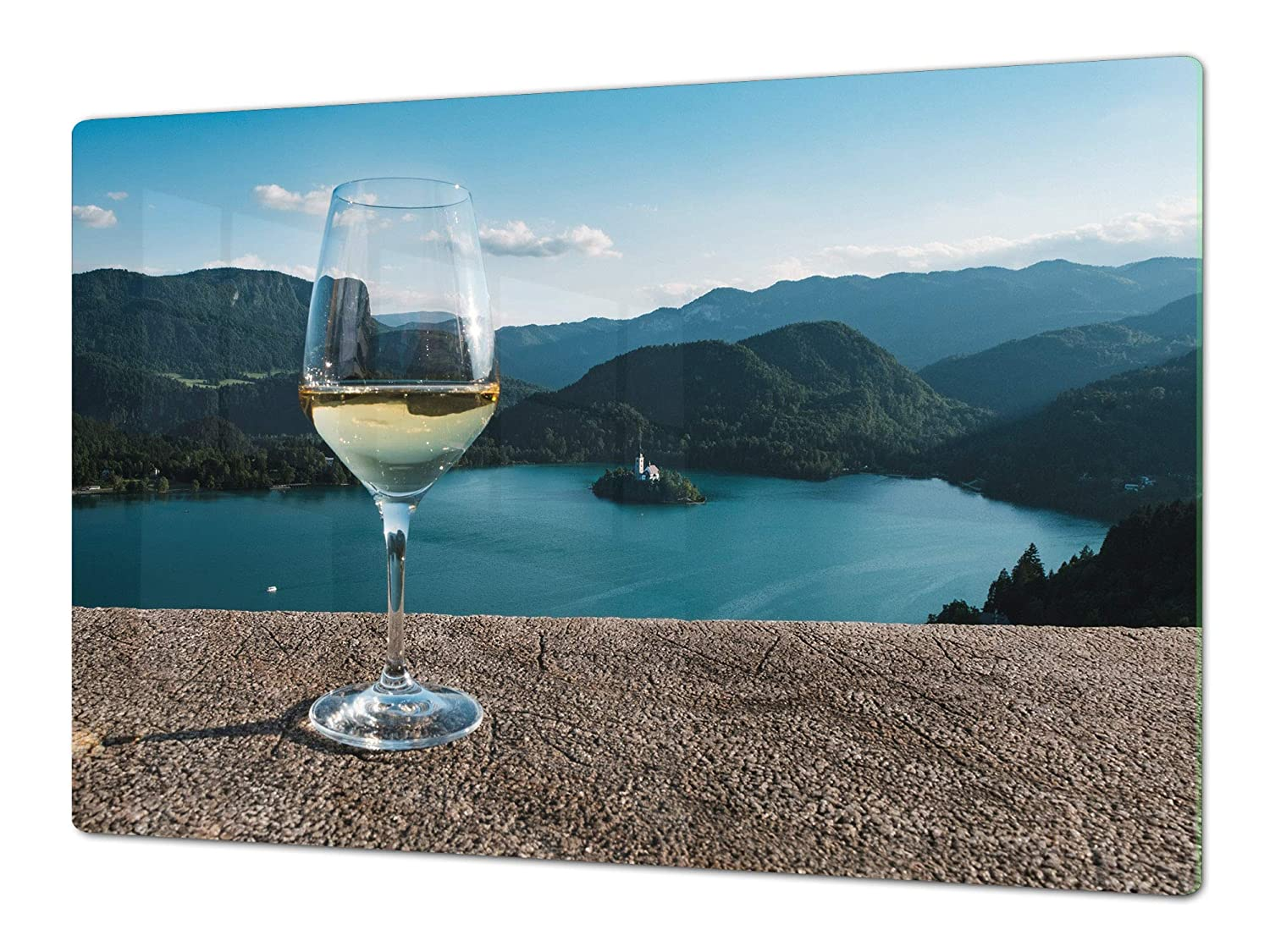 A glass of wine 1 80x52 Big Kitchen Board & Induction Cooktop Cover – Glass Pastry Board – Heat and Bacteria Resistant;Single  80 x 52 cm (31,5  x 20,47 ); Double  40 x 52 cm (15,75  x 20,47 ); Wine Series DD04