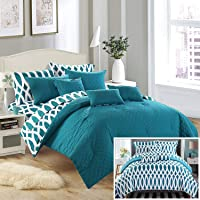 Chic Home 10 Piece Holland Diamond Quilted Embroidered With Contemporary REVERSIBLE printed backside King Bed In a Bag Comforter Set Grey Includes 4 Piece Sheets Set