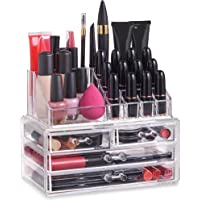 Beautify Clear Acrylic Makeup Organiser Storage Stand Display Table for Cosmetics, Nail Polish, Varnish, Stationary, Arts and Crafts, Makeup Brush Set Holder, Jewellery - 20 Sections with 4 Drawers