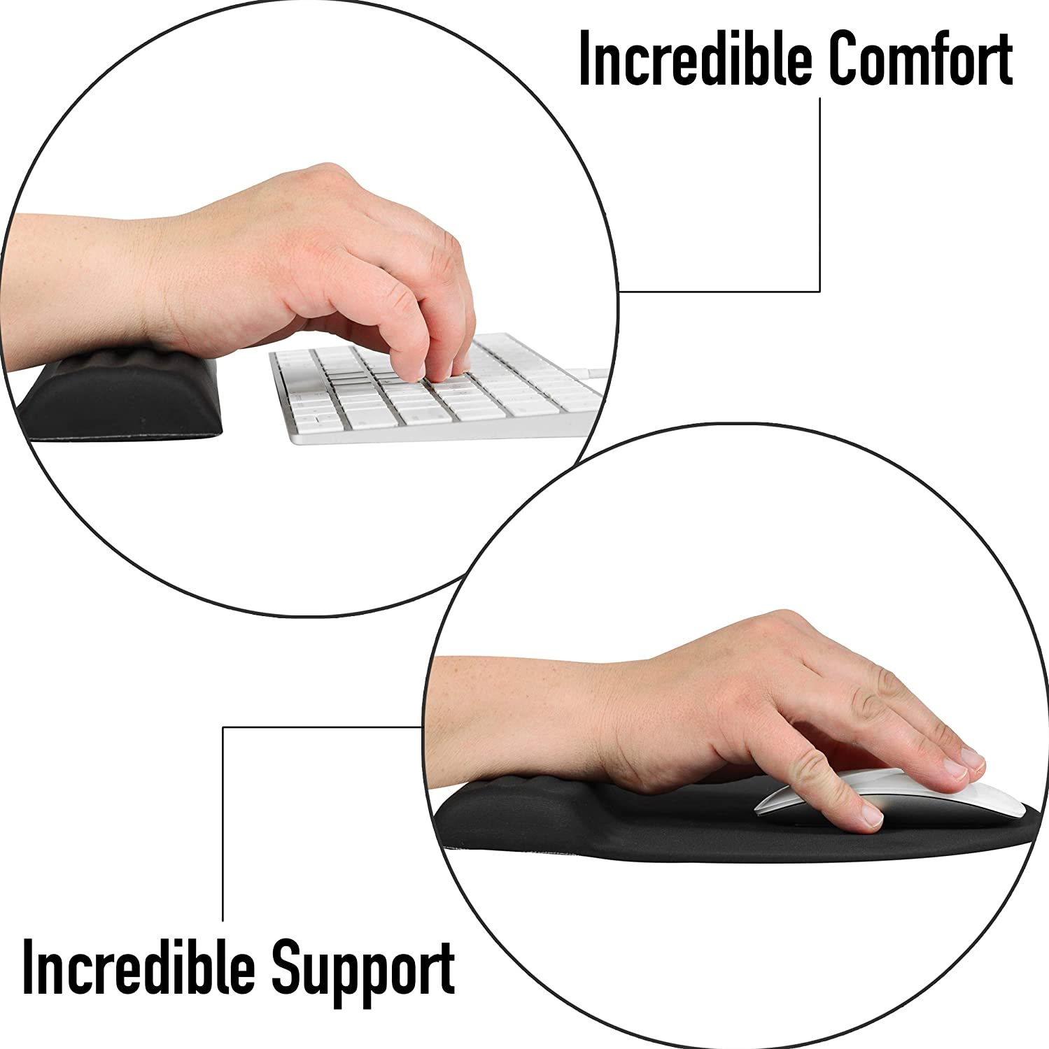 Memory Foam Padding for Comfortable and Durable Ergonomic Support Keyboard Wrist Rest and Mouse Pad Combo Set Pain Relief for Typing and Gaming on Laptop Computer PC and Mac Nonslip Rubber Base