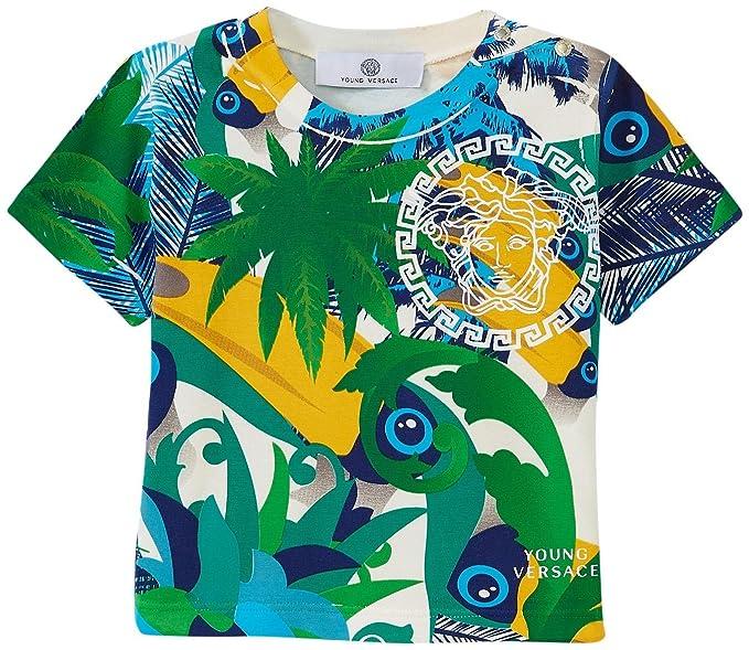 ecbe25f9343c Amazon.com  Versace Baby Boys  Tropical Print T-Shirt with Medusa ...
