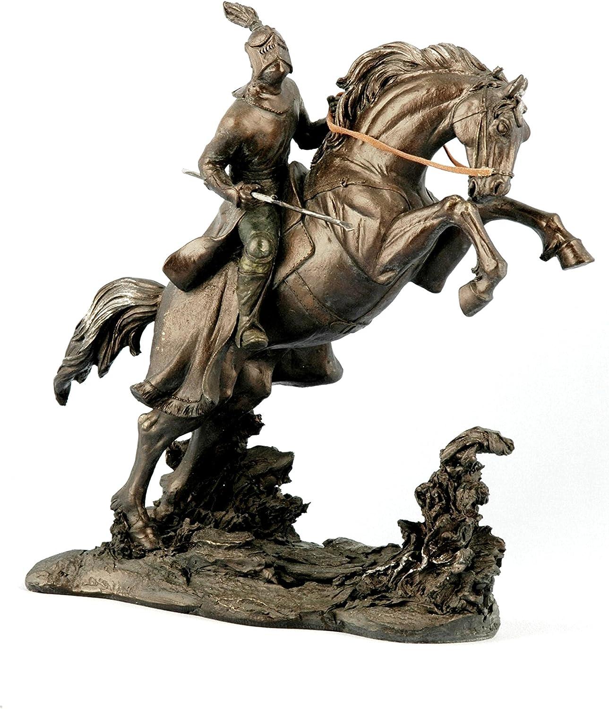 dor/é R/ésine 25/cm Sukima Decor Figurine avec Motif Chevalier
