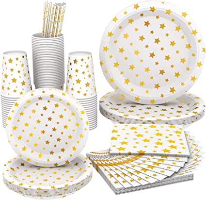 Amazon Com Full Fancy Disposable And Biodegradable Party Set Paper Plates Two Sizes Paper Cups Paper Napkins And Paper Straws White Color With Gold Stars For Parties Dinner Or Decorations Wise Buy