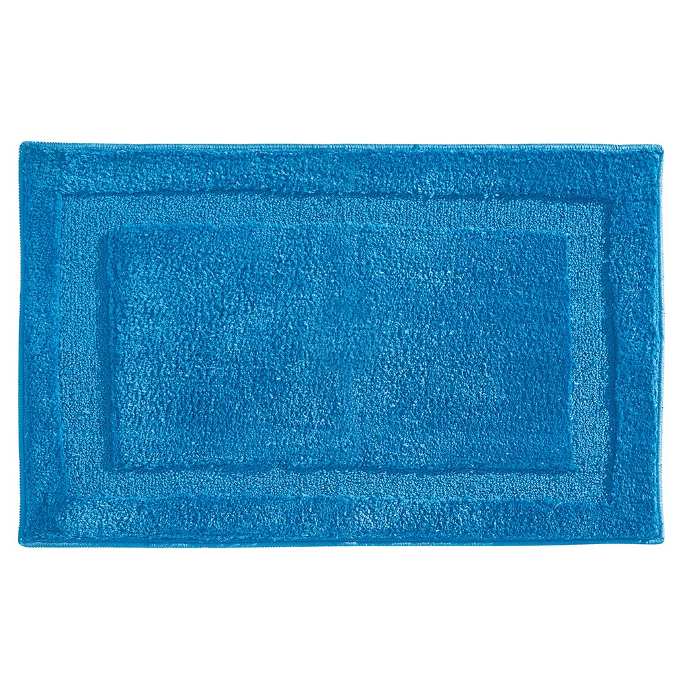 "InterDesign Microfiber Spa Bathroom Accent Rug, 34"" x 21'' Inches, Azure"