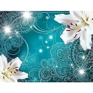 Fototapeten Lilien Blumen Turkis  Cm Vlies Wand Tapete Wohnzimmer Schlafzimmer Buro Flur Dekoration