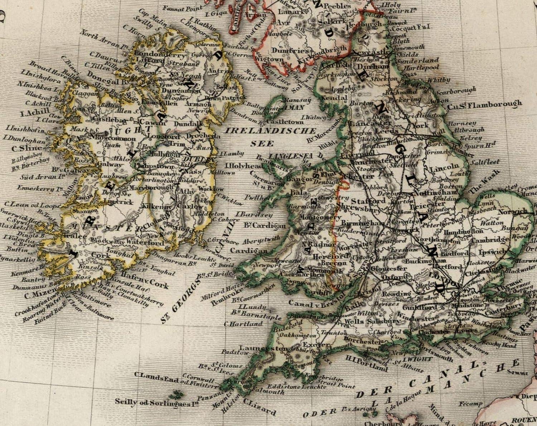 Detailed Map Of Ireland.Amazon Com British Isles United Kingdom 1849 Ireland Scotland
