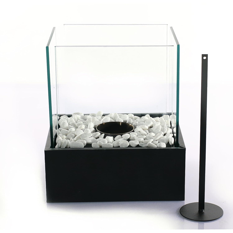 FLAME - Designer Glaskamin, Tischfeuer, Tischkamin, 1-flammig fü r Bioethanol oder Spiritus