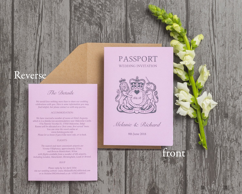 Personalised Passport Themed Destination Wedding Invitations with ...