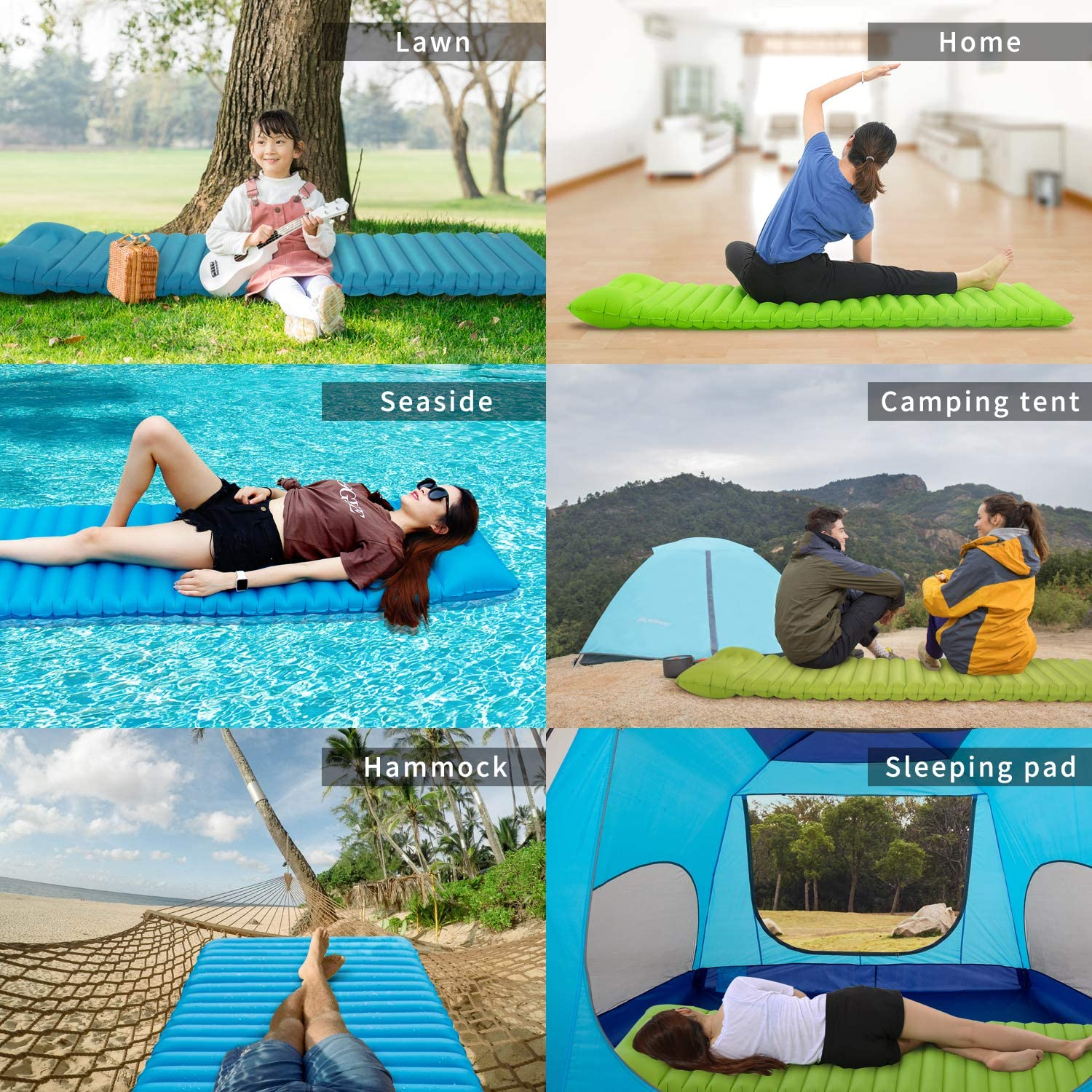 BISINNA Ultralight Inflatable Camping Sleeping Pad Mat with Pillow and Inflat Dry Bag for Camping Backpacking Traveling and Hiking Folding Compact Lightweight Portable Outdoor Hiking Air Mattress