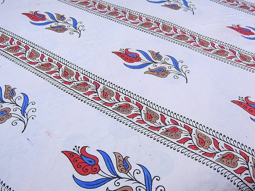 India Inspired Bedding Duvet White Block Printed Cotton Reversible Queen Linens by NovaHaat (Image #3)