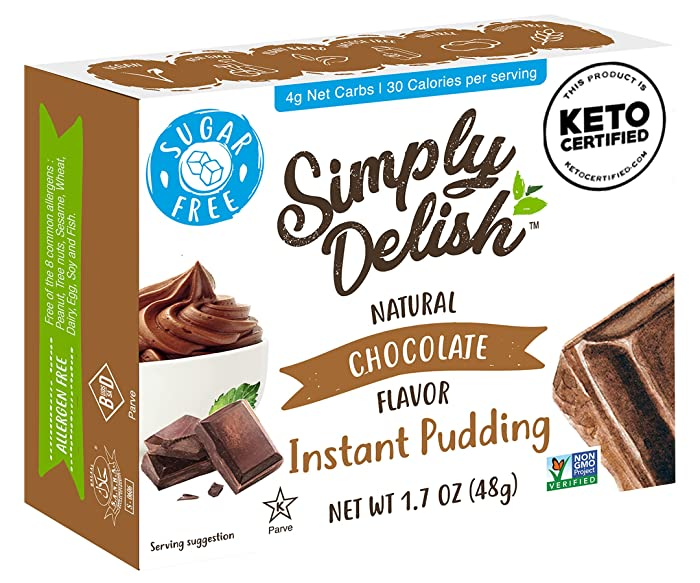 Simply Delish Natural Instant Chocolate Pudding - Sugar Free, Non GMO, Gluten Free, Fat Free, Vegan, Keto Friendly - 1.7 OZ (Pack of 3)