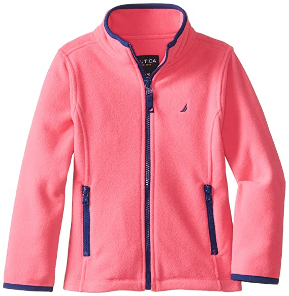 Nautica Big Girls'  Polar Fleece Front Zip Jacket, Pink, 10