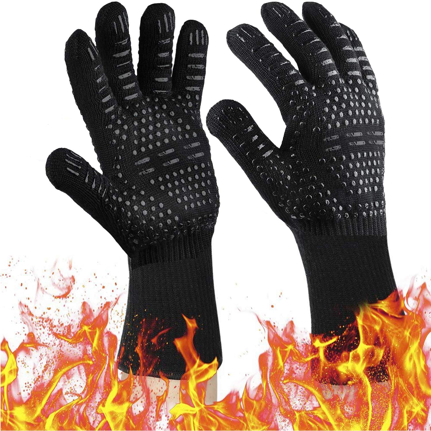 UCSLIFE BBQ Grill Gloves [Newest] 932℉ EN407 CE Heat Resistant - Oven Silicone Glove Fireproof for Smoker Baking - High-Temp Barbecue Grilling Potholders - Heat-Insulated Cooking Mitt
