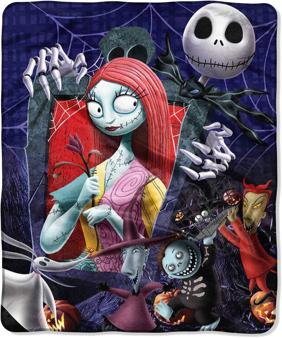 "Disney Nightmare Before Christmas Jack Skellington Sally and The Gang Silk Touch Throw Blanket 50"" x60"" (127cm x 152cm)"