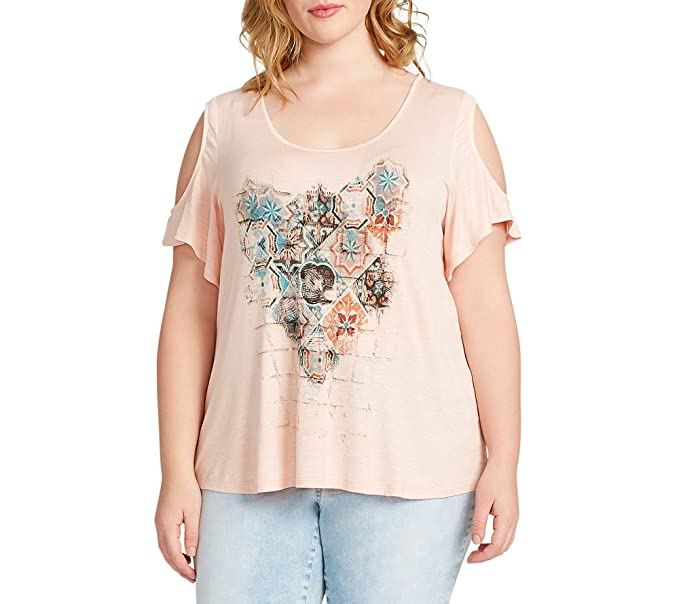 0882f48cfa52b0 Jessica Simpson Women s Plus Cold-Shoulder Mosaic Blouse Pink 2X at Amazon  Women s Clothing store