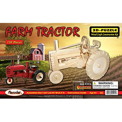 Puzzled 3D Puzzle Farm Tractor Set Wood Craft Construction Model Kit, Fun & Educational DIY Wooden Toy Assemble Model Unfinished Crafting Hobby Puzzle to Build & Paint for Decoration 130 Pieces Pack: Toys & Games