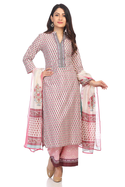 BIBA Women's Pink Cotton Salwar Kameez Dupatta Size 36