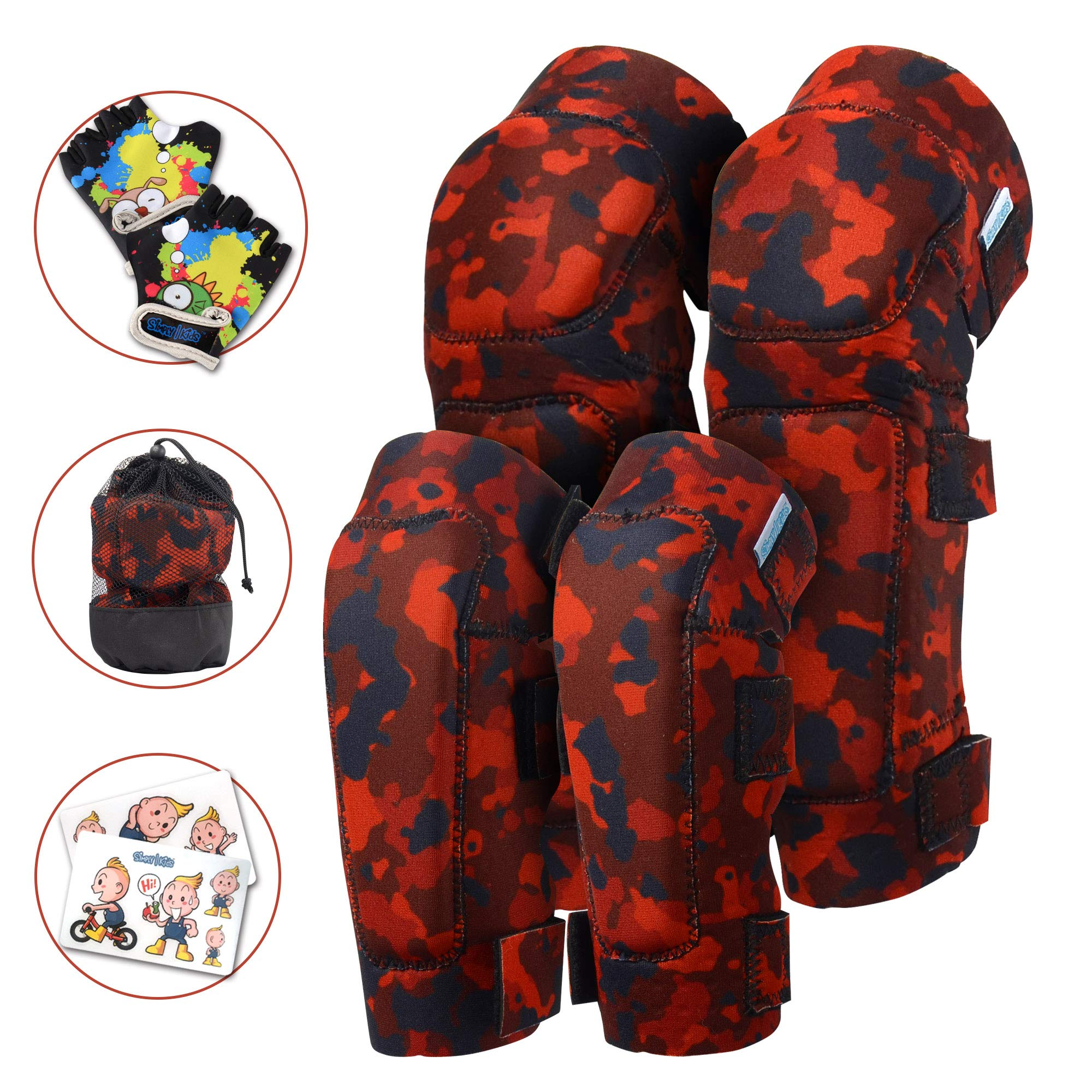 Innovative Soft Kids Knee and Elbow Pads with Bike Gloves | Toddler Protective Gear Set w/Bag | Roller-Skating, Skateboard, Bike for Children Boys Girls ((2nd Gen) Fire Camo, Medium (4-8 Years))