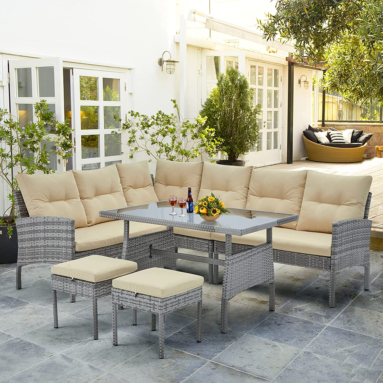 AECOJOY 6 Pieces Outdoor Patio Furniture Set, PE Rattan Wicker Sectional Sofa Set with Glass Dining Table, 2 Ottomans and Washable Cushions, Grey Rattan, Beige Cushions