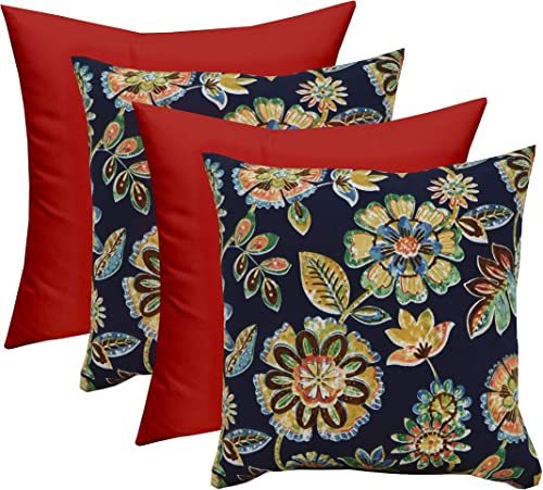 RSH D cor Set of 4 – Indoor Outdoor Square Decorative Throw Toss Pillows – Daelyn Navy Floral Red- Choose Size 20 x 20