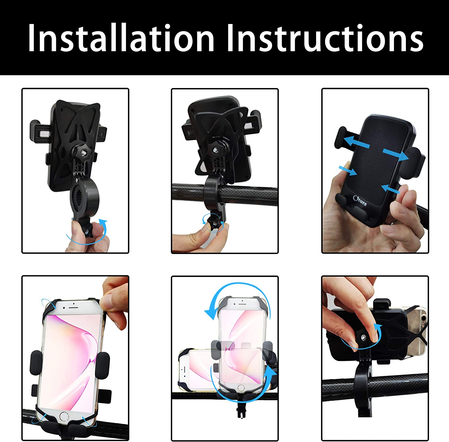 Bike& Motorcycle Phone Mount Oture Full-Screen Touch 360 Rotation ...