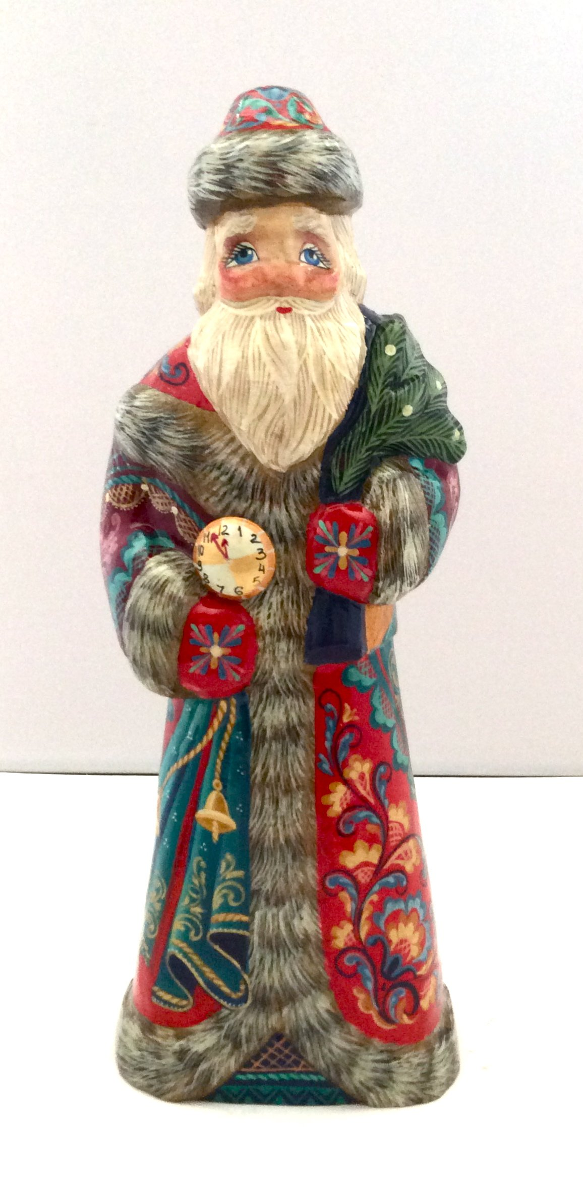 Russian Hand Carved Hand Painted Santa / Wood / Signed
