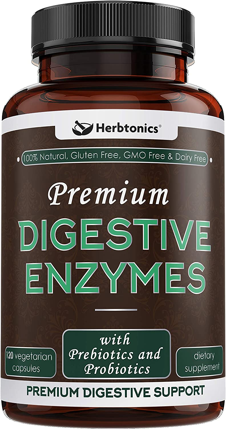 Digestive Enzymes Supplements with Probiotics & Prebiotics for Women & Men- Designed to Decrease Bloating and Flatulence with Protease Enzyme, Bromelain, and Lactase; Digestion,