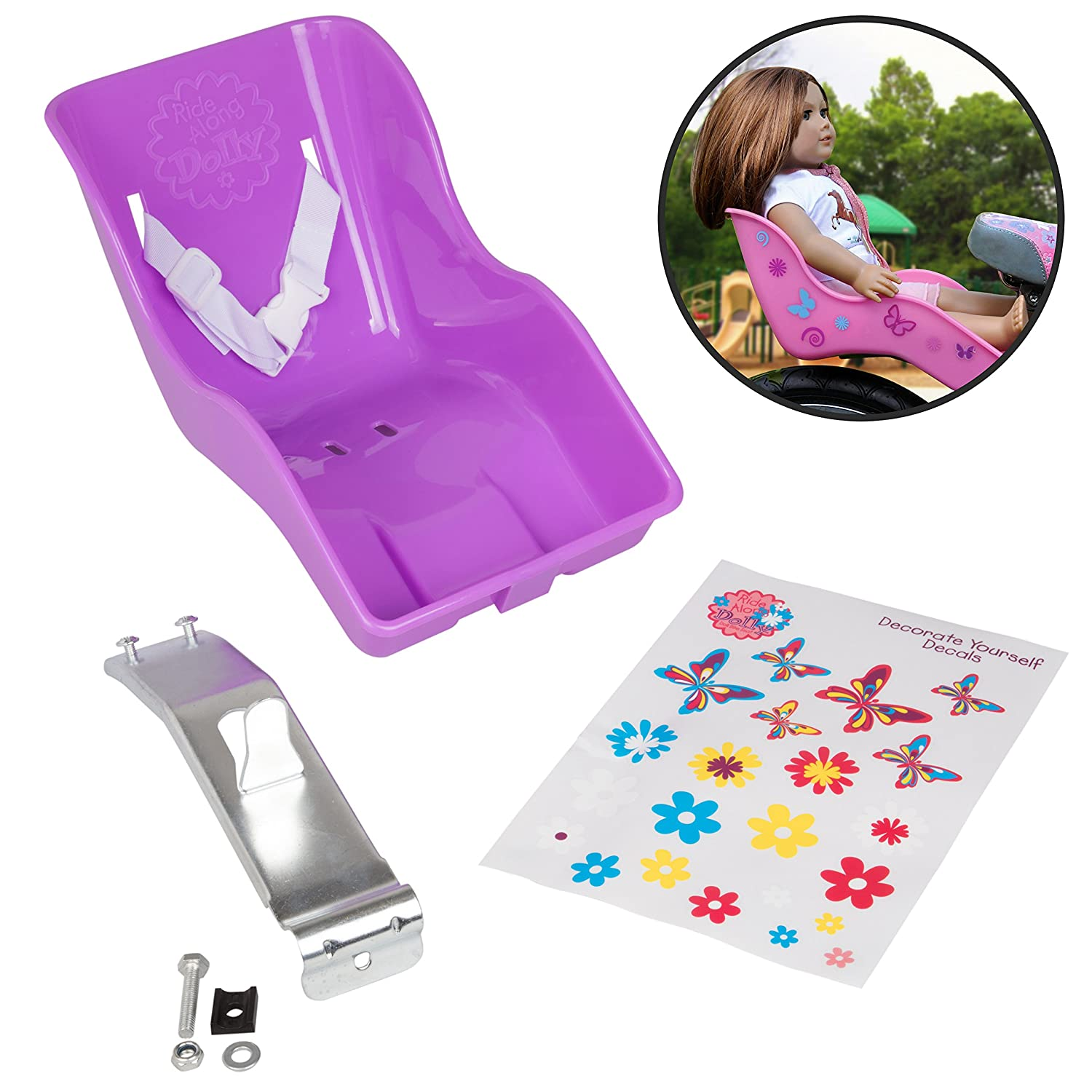 Purple Ride Along Dolly Doll Bicycle Seat Bike Seat with Decorate Yourself Decals Fits American Girl and Stuffed Animals