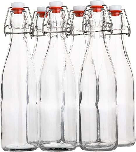 12 x Empty Glass Bottles Flip Swing Top Clear Thick 16oz//500ml Reusable Brewing