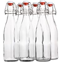 Flip Top Glass Bottle [500 ml/ 16 fl. oz.] [Pack of 6] – Reusable Swing Top Brewing Bottle with Stopper for Beverages…