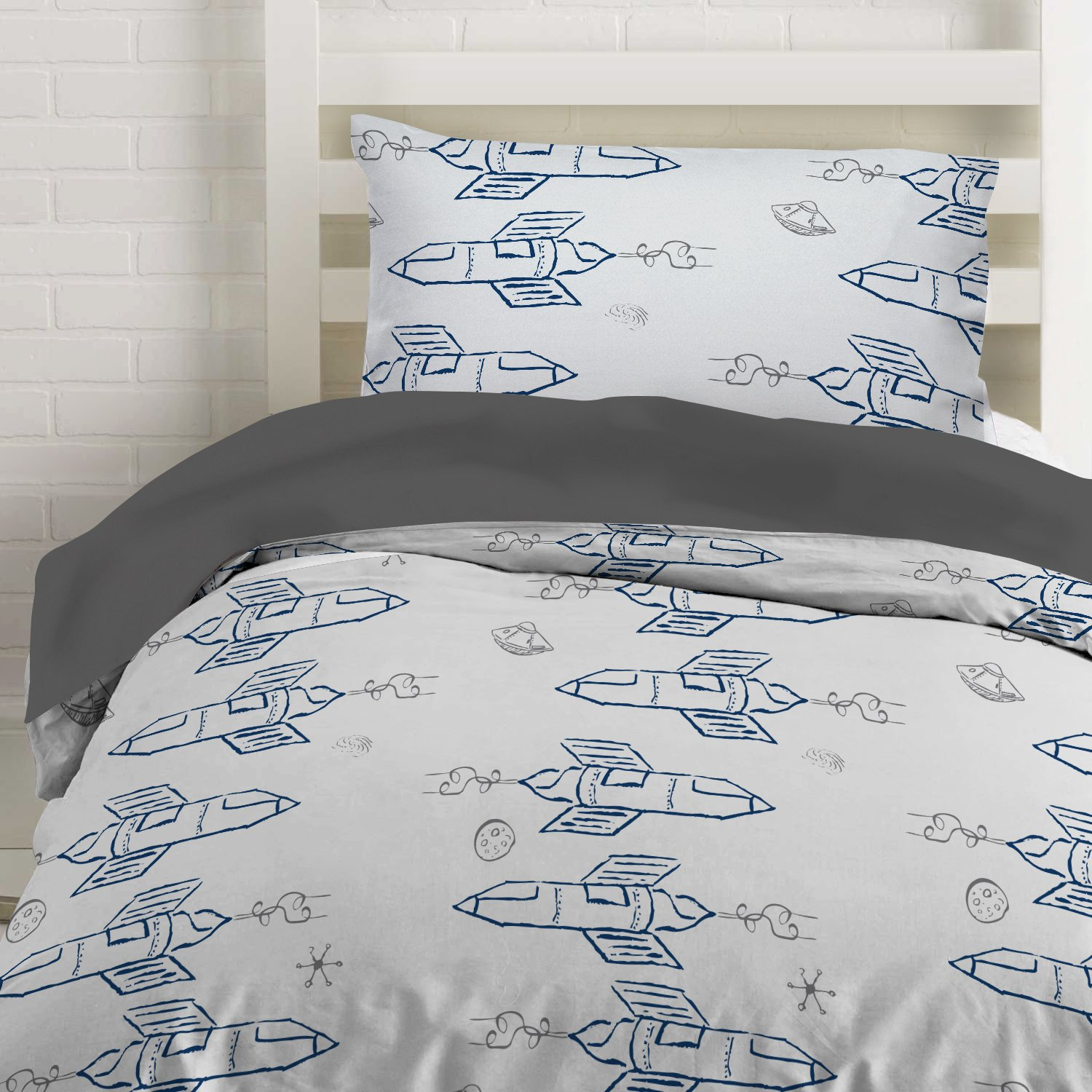 """Where the Polka Dots Roam Twin Navy Rocket Ship Duvet Cover Set with 1 Pillowcase for Kids Bedding - Double Brushed Microfiber (68"""" L X 86"""" W)"""