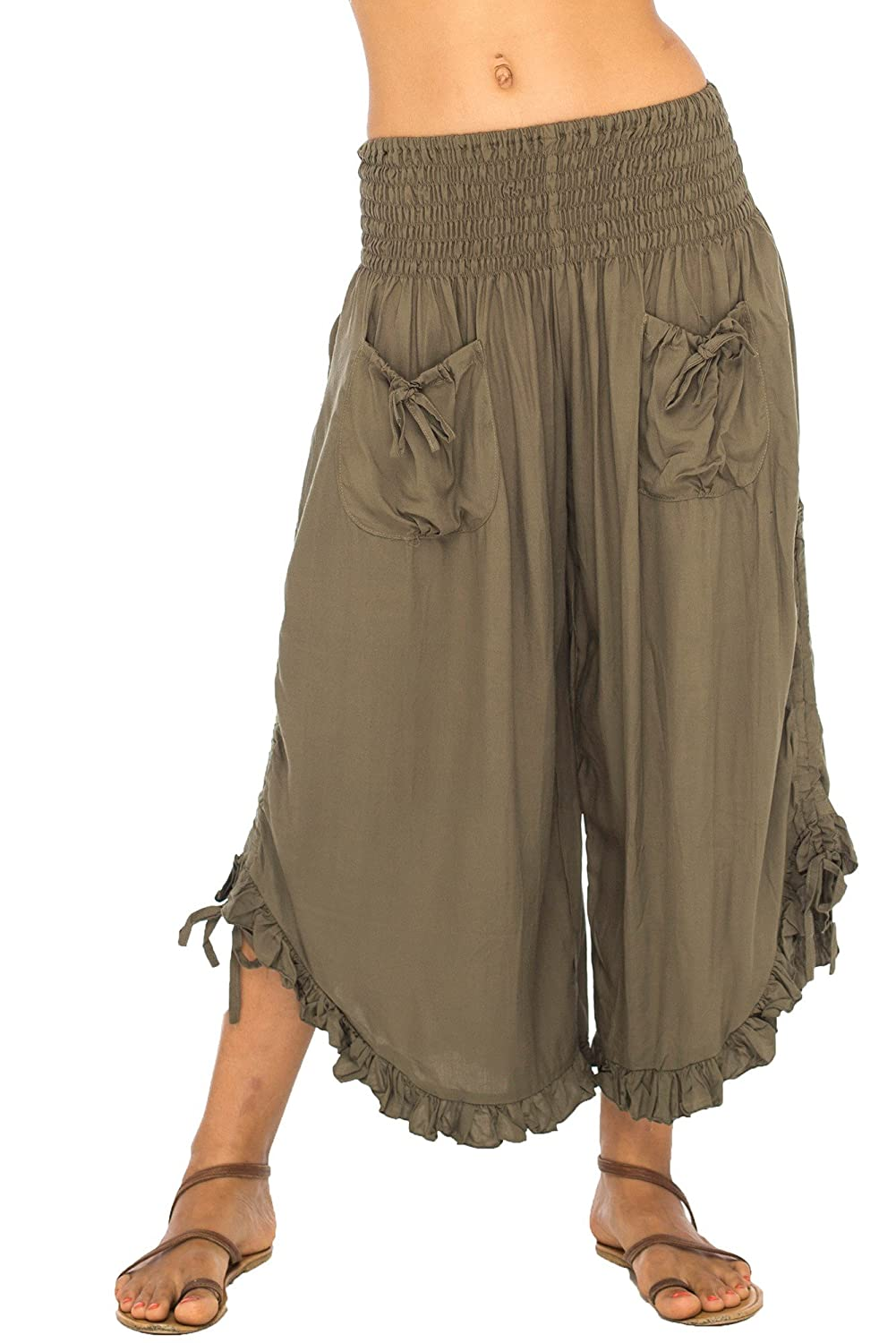 Women's Cropped Ruffled Wide Leg Olive Lady Pirate Pants - DeluxeAdultCostumes.com