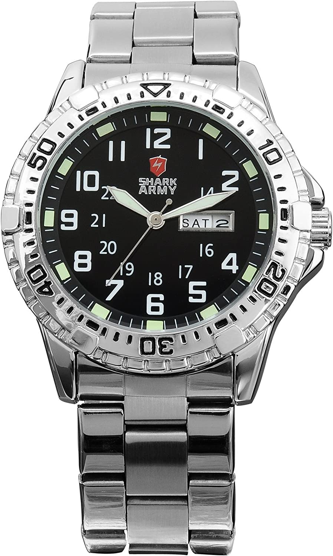 Shark Army Men s Date Day Luminous White Silver Military Sport Quartz Watch Box SAW018