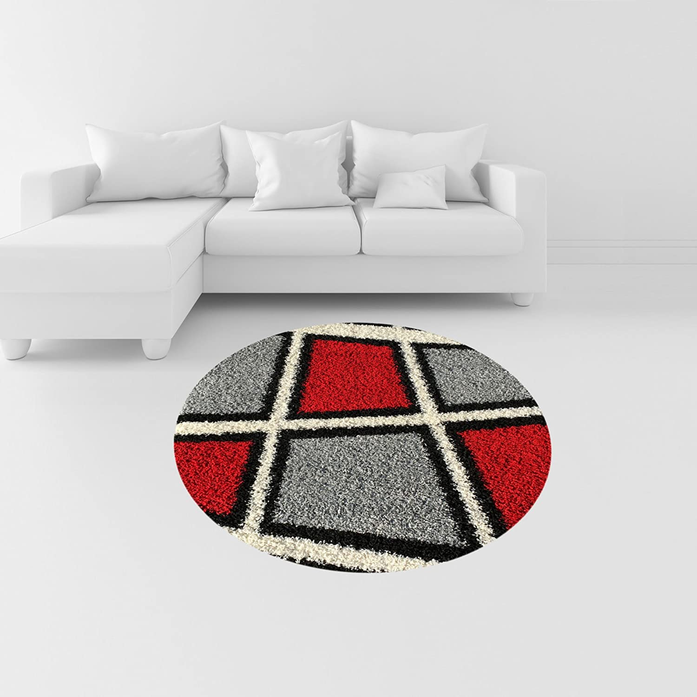 Amazon.com: Soft Shag Area Rug 7x10 Geometric Tile Design Red Ivory ...